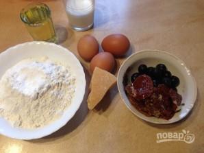Соленые кексики с оливками и вялеными помидорами - фото шаг 1