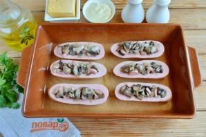 Сардельки, фаршированные сыром и грибами - фото шаг 5