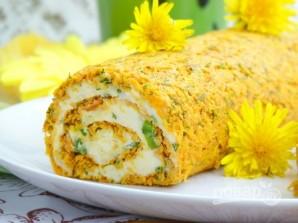 Морковный рулет с сыром и зеленью - фото шаг 11