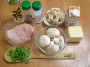 Фетучини с курицей и грибами - фото шаг 1