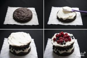 Шоколадный торт с черникой - фото шаг 7