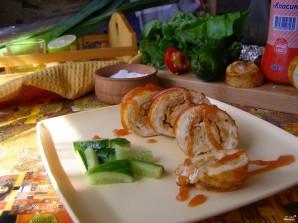 Куриный рулет с креветками - фото шаг 8