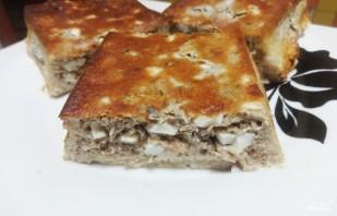 Пирог с консервой на кефире - фото шаг 5