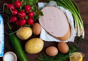 Окрошка классическая с колбасой на кефире - фото шаг 1