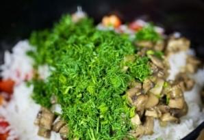 Салат из креветок, грибов и риса - фото шаг 7