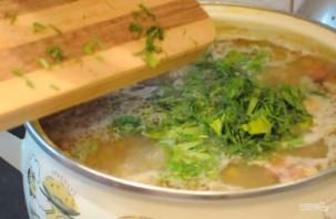 Гороховый суп с охотничьими колбасками и зеленью - фото шаг 4
