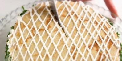 Блинный торт с курицей и грибами - фото шаг 5