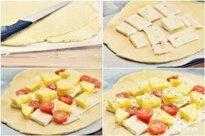 Пирог с ананасами, помидорами и сыром бри - фото шаг 8