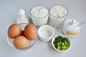 Ленивые пирожки с зеленым луком и яйцом - фото шаг 1