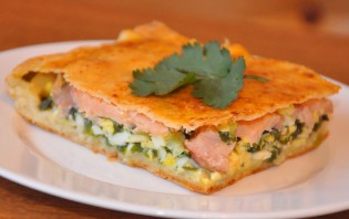 Пирог с семгой, брынзой и шпинатом - фото шаг 8