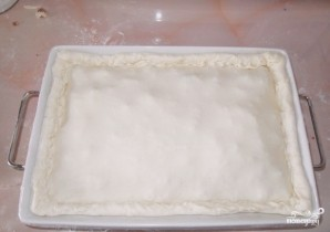 Пирог с мясом из слоеного дрожжевого теста - фото шаг 4