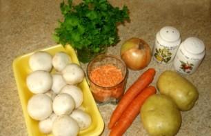 Грибной суп с чечевицей - фото шаг 1
