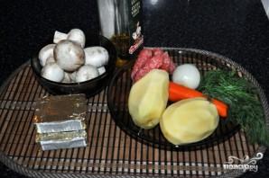 Сырный суп с шампиньонами и копченостями  - фото шаг 1