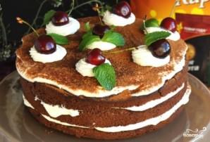 Шоколадный торт с творожным кремом и вишней - фото шаг 5