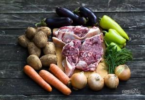 Баклажаны в казане с мясом - фото шаг 1