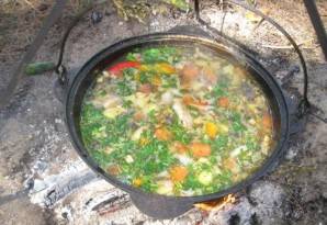 Суп из баранины с баклажанами в казане - фото шаг 5