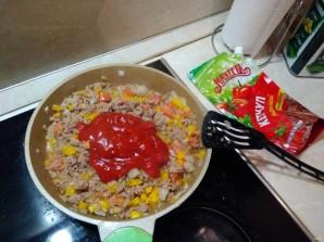 "Лучший рецепт макарон по-флотски с овощами и кетчупом ""Махеевъ"" - фото шаг 7"