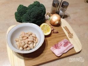 Жареная брокколи с фасолью и беконом - фото шаг 1
