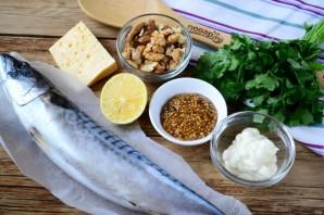 Запеченная скумбрия с орехово-сырной начинкой - фото шаг 1