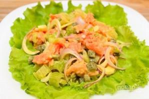Салат с семгой и овощами - фото шаг 4