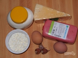 Рулетики из ветчины с сырной начинкой - фото шаг 1
