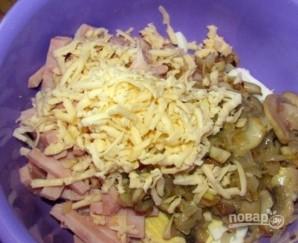 """Салат """"Изумрудный"""" с ветчиной, грибами и сыром - фото шаг 5"""