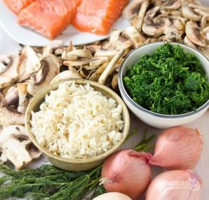 Слоеные пирожки с рыбой, грибами и рисом - фото шаг 1