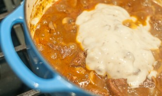 Мясо, тушенное с грибами - фото шаг 7