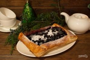 Пирог с черникой из слоеного дрожжевого теста - фото шаг 6