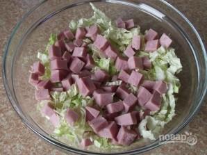 Салат с пекинской капустой и ветчиной - фото шаг 2