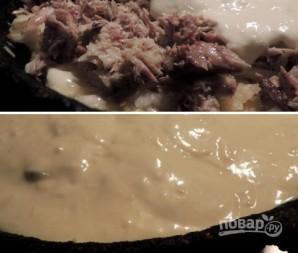 Заливной пирог с картофелем и сайрой - фото шаг 7