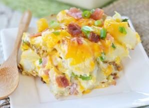 Картофель с ветчиной и сыром в духовке - фото шаг 4