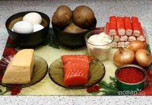 Салат с красной рыбой слоями - фото шаг 1