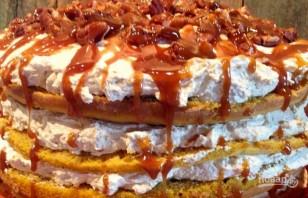 Тыквенный торт с карамелью и орехами - фото шаг 7