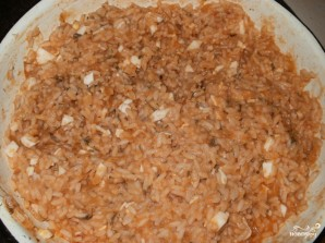 Фаршированные кальмары с рисом и яйцом - фото шаг 3