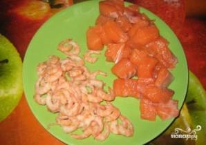 Семга с креветками в сливочном соусе - фото шаг 3