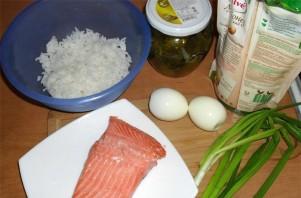 Салат с отварной форелью - фото шаг 1
