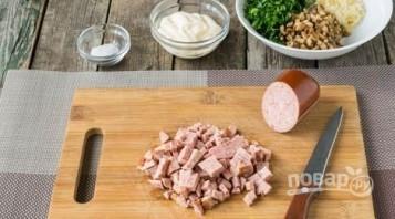 Грибы с колбасой в духовке - фото шаг 3