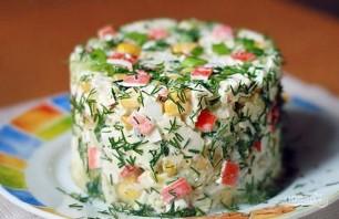 Крабовый салат без риса с огурцом - фото шаг 6