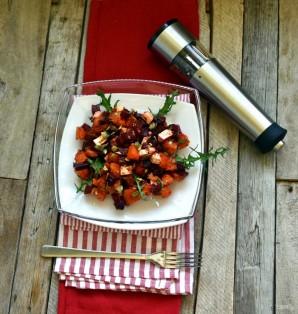 Теплый салат со свеклой и запеченной тыквой. - фото шаг 7