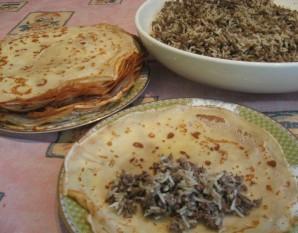 Блинчики с печенью и рисом   - фото шаг 6