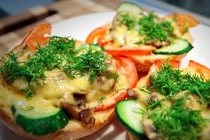 Бутерброды с шампиньонами и сыром - фото шаг 7