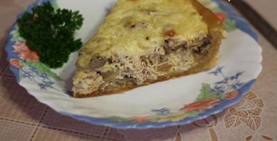 Лоранский пирог с курицей и грибами в мультиварке - фото шаг 5