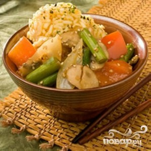 Жареные овощи с рисом - фото шаг 5