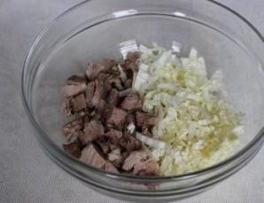 Салат мясной с грибами - фото шаг 2