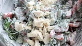 Салат с горошком и курицей - фото шаг 6