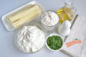 Вкусные кутабы с сыром и зеленью - фото шаг 1