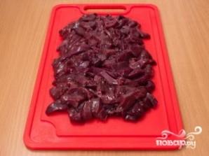 Печень по-строгановски с грибами - фото шаг 1