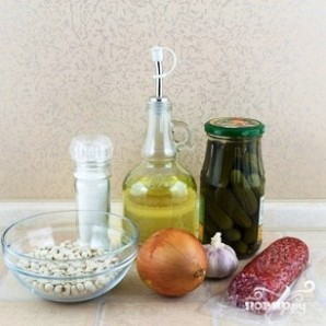 Салат с фасолью и колбасой - фото шаг 1
