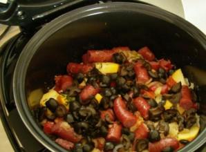 Овощное рагу с охотничьими колбасками - фото шаг 6
